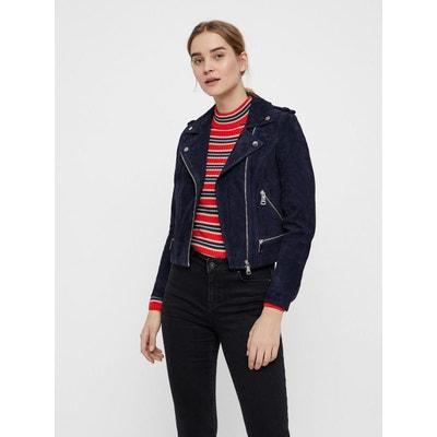 Veste cuir bleu marine femme   La Redoute