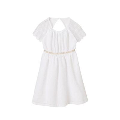 b5dfde2f768 Robe de cérémonie fille en crépon manches en organza brodé VERTBAUDET