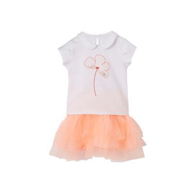 6f3b38b3b9a5a Ensemble de fêtes bébé fille t-shirt à sequins et jupon tulle Ensemble de  fêtes