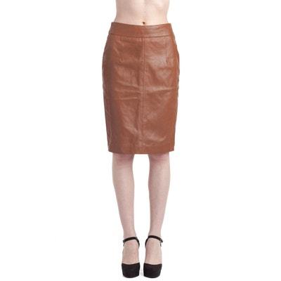 Jupe cuir marron | La Redoute