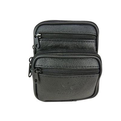 8db52909e4f2 Pochette ceinture verticale multi-poches zippées cuir Pochette ceinture  verticale multi-poches zippées cuir