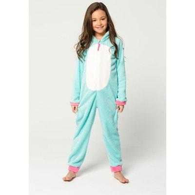 803ce86bcf8f6 Combinaison Pyjama Licorne Bleu Blanc Et Rose Corne Argentée Yeux Kawaï  Déguisement Cosplay Unisexe En Polaire