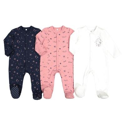 7a0aef74056ac Lot de 3 pyjamas naissance en coton préma-2 ans Lot de 3 pyjamas naissance