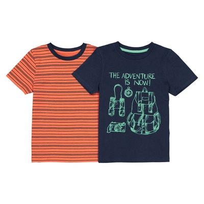 773797a7ecd78 Lot de 2 T-shirts (1 rayé + 1 imprimé) 3-12