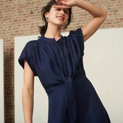 d29a1c8bb5a5e3 Wijd uitlopende jurk in licht denim
