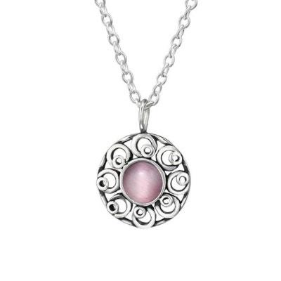 Collier Chaîne Longueur 45 cm Cercle Disque Soleil Fleur Oeil De Chat Rose  Clair Argent 925 737d496b3682
