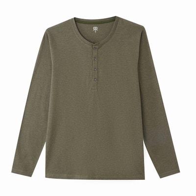 T-shirt met knooplijst en lange mouwen, melêe jersey T-shirt met knooplijst en lange mouwen, melêe jersey LA REDOUTE COLLECTIONS