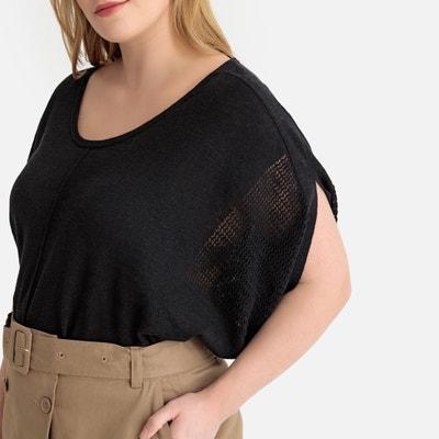 59aa1105ed3ed Cotton Linen Openwork Short-Sleeved Jumper Sweater CASTALUNA PLUS SIZE