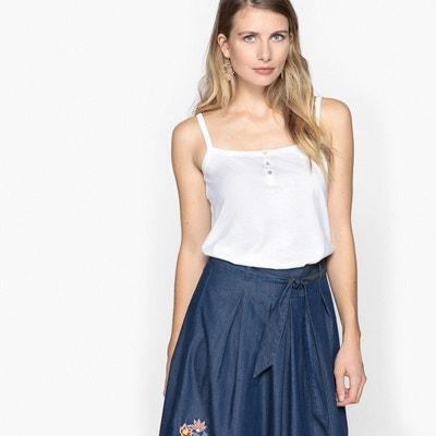 fd460d2cd424 T-shirt top uni à fines bretelles T-shirt top uni à fines bretelles