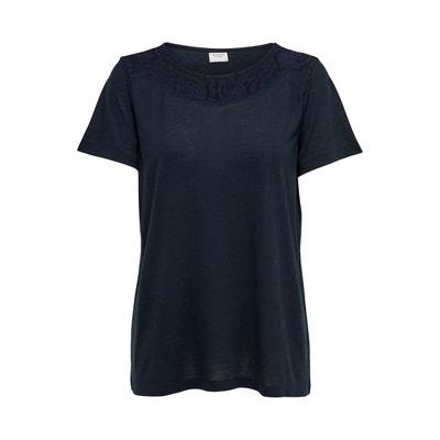 T-shirt encolure finition dentelle T-shirt encolure finition dentelle  JACQUELINE DE YONG ad90087a876