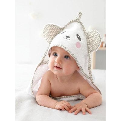 c8c395cbbd84 Cape de bain bébé à capuche brodée animaux VERTBAUDET