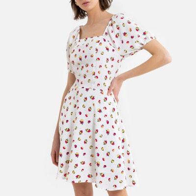 Bedrukte, korte wijde jurk, vierkante hals Bedrukte, korte wijde jurk, vierkante hals LA REDOUTE COLLECTIONS