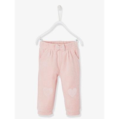 Pantalon de sport bébé fille en velours lisse Pantalon de sport bébé fille  en velours lisse 68193f489c2