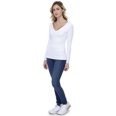 073c5554df59 T-shirt col V devant et derrière manches longues en modal VIVI5 RENDEZ-VOUS