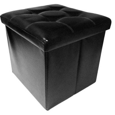1b1e47e5e84ab9 Pouf coffre effet cuir noir couvercle capitonné Pouf coffre effet cuir noir  couvercle capitonné JARDINDECO