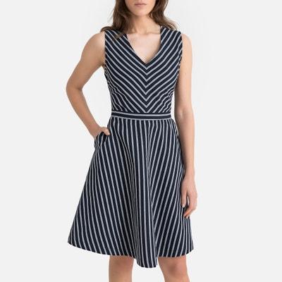 Korte gestreepte jurk zonder mouwen in linnen Korte gestreepte jurk zonder mouwen in linnen SUNCOO
