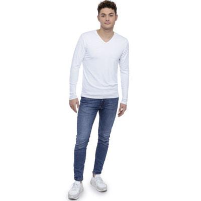 17bda2bcbc48 Tee-shirt col V finition colletage manches longues en modal SAMUEL  RENDEZ-VOUS PARIS