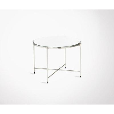 Table basse art déco métal argenté plateau miroir DELOE MEUBLES   DESIGN 66c5ad9ca431