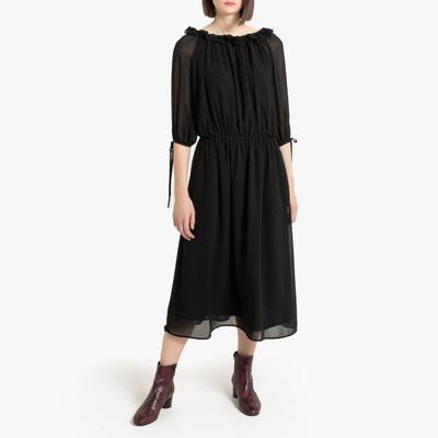 robe noire ample manche mi longue