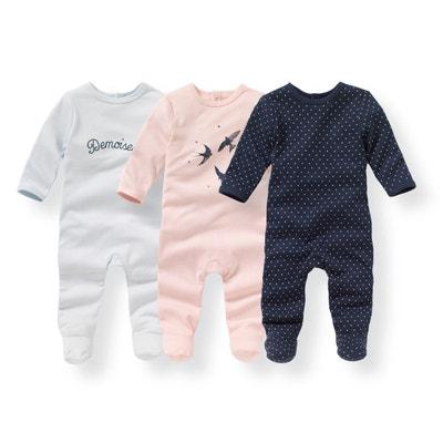 59bd96cb97d74 Lot de 3 Pyjamas coton imprimé 0 mois-3 ans LA REDOUTE COLLECTIONS
