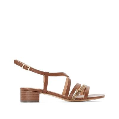 d7dfb6b1aaf3 Leather Cross-Strap Block Heel Sandals ANNE WEYBURN