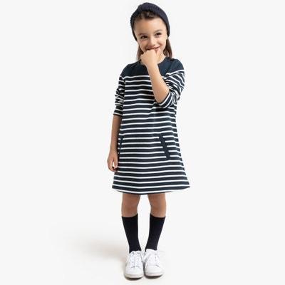 Gestreepte jurk in molton 3-12 jaar Gestreepte jurk in molton 3-12 jaar LA REDOUTE COLLECTIONS