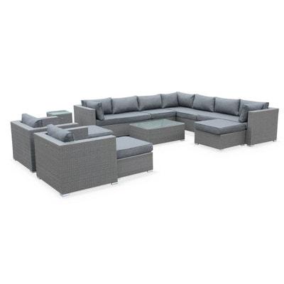94ba0569320ca8 Salon de jardin en résine tressée XXL - Tripoli - Gris Coussins gris - 14  places