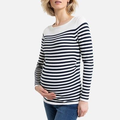 Gestreepte zwangerschapstrui met boothals, in fijn tricot Gestreepte zwangerschapstrui met boothals, in fijn tricot LA REDOUTE COLLECTIONS