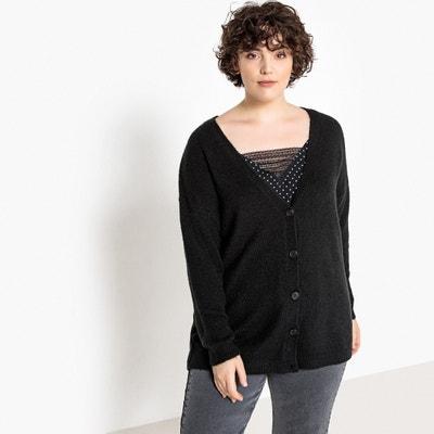 0211314907b V-Neck Buttoned Chunky Knit Cardigan V-Neck Buttoned Chunky Knit Cardigan  CASTALUNA PLUS. CASTALUNA PLUS SIZE