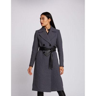 manteau long gris grand col ceinture