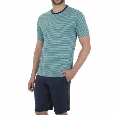 Pyjama court en jersey de coton   tee-shirt col rond à rayures turquoise et 38b66e88bf6