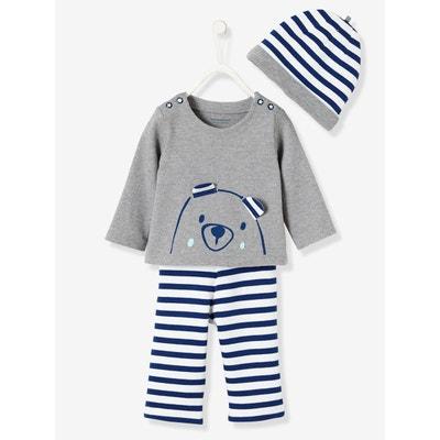 aad05c0e6e05 Ensemble bébé T-shirt + bonnet + pantalon molleton VERTBAUDET