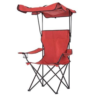 Chaise De Camping Pliable Pare Soleil Porte Gobelets Integres Rouge
