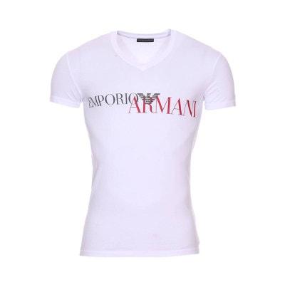 Tee-shirt col V en coton stretch floqué en et Tee-shirt col V. Soldes. EMPORIO  ARMANI 43d17af4f1a