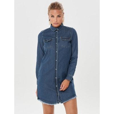 2387303be383 Robe en jean manches courtes en solde   La Redoute