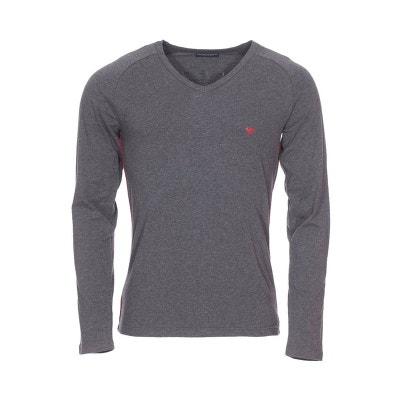 391d48030c54 Tee-shirt manches longues col V en coton stretch chiné EMPORIO ARMANI