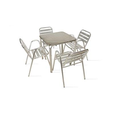 Table de jardin carrée en aluminium 4 places Table de jardin carrée en  aluminium 4 places 0aa526ef90c1