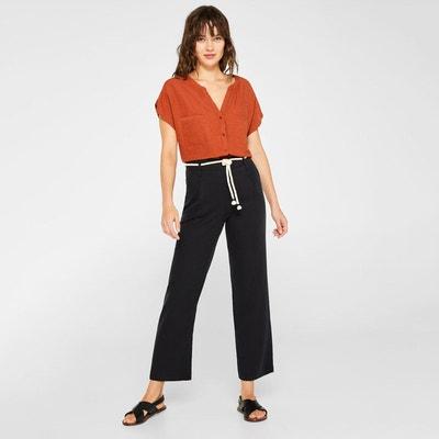 f90c038f20c73 Pantalon paperbag slim ceinture et zip côté Pantalon paperbag slim ceinture  et zip côté ESPRIT