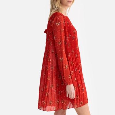 857db3f5544ea Robe courte plissée imprimée manches longues LPB WOMAN