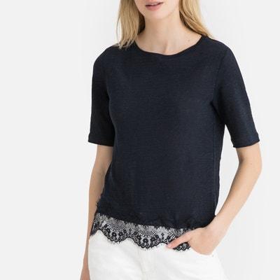 619fa5ff5e T-shirt in lino scollo rotondo maniche corte in lino T-shirt in lino
