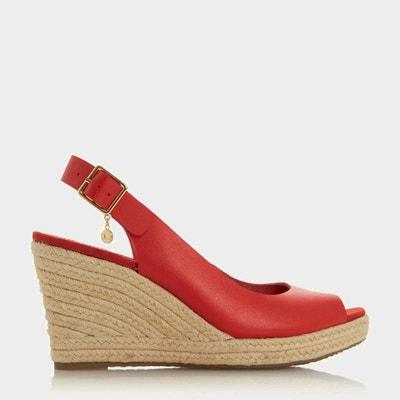 Sandales compensées rouge | La Redoute
