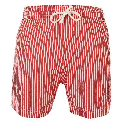 d6564cc287 Maillot Short de bain homme Jules fines rayures rouge et blanc LES LOULOUS  DE LA PLAGE