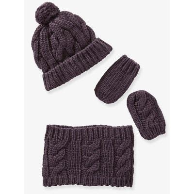 Chapka + snood + moufles bébé fille façon peluche. 21,99 €. Ensemble  bonnet, snood et moufles en tricot bébé Ensemble bonnet, snood et moufles en 869cba3f249