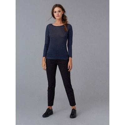 8b0acca7bb23 T-shirt femme jersey de lin col bateau T-shirt femme jersey de lin
