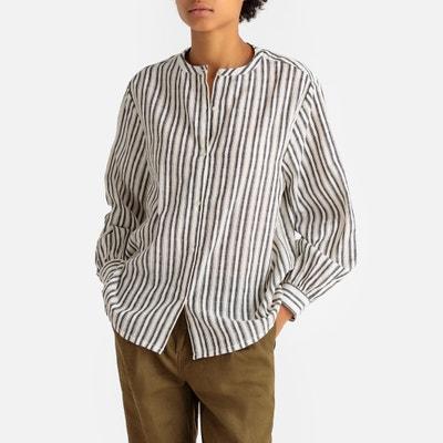 Camisa con cuello redondo a rayas 18496b10f32f7