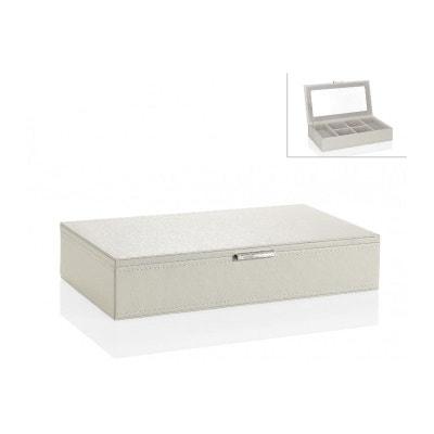 Boîte à Bijoux En Similicuir Blanc Avec Miroir Boîte à Bijoux En Similicuir  Blanc Avec Miroir