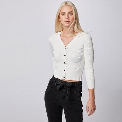Morgan Gilet Manches Longues Ceintur/é Mbass Cardigan Sweater Femme