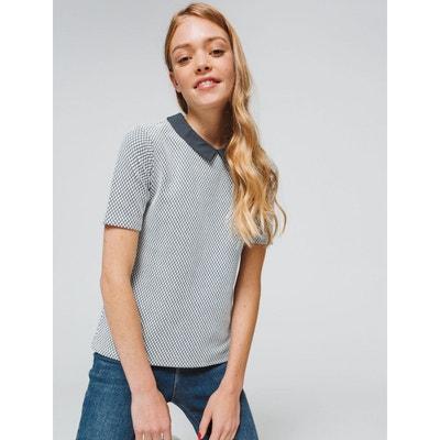 79b9097d630b39 T-shirt jacquard col chemise T-shirt jacquard col chemise BIZZBEE
