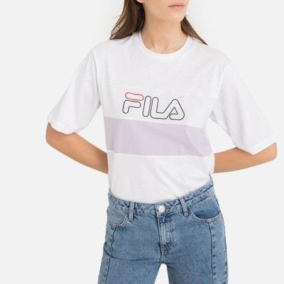 Tee shirt manches courtes Lei tee w ss blanc rose Fila