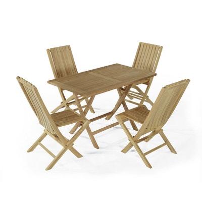 Salon De Jardin En Teck Ecograde Masai Table Pliante Avec 4 Chaises Karimun TECK ATTITUDE